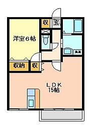 大阪府門真市大池町の賃貸アパートの間取り