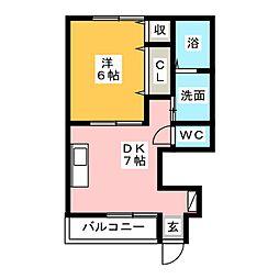 エリガンスK[1階]の間取り