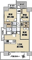 ローレルコート桃山台THE HOUSE 5階3LDKの間取り