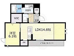 大阪モノレール本線 千里中央駅 徒歩10分の賃貸アパート 2階1LDKの間取り