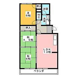 愛知県名古屋市天白区平針1丁目の賃貸マンションの間取り