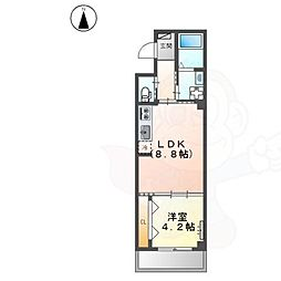 JR阪和線 堺市駅 徒歩7分の賃貸マンション 2階1LDKの間取り