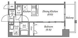 エスリード中之島クロスゲート 7階1DKの間取り