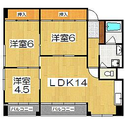 中川第6コーポ[6階]の間取り
