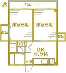 コーポ安井A[2階]の間取り