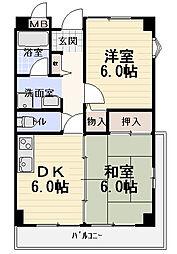 コートレックス[6階]の間取り