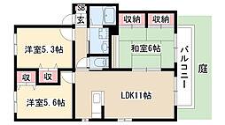 愛知県名古屋市緑区神沢2丁目の賃貸アパートの間取り
