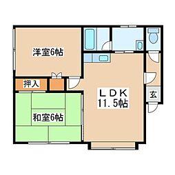 北海道札幌市豊平区月寒東三条7丁目の賃貸アパートの間取り