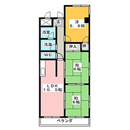 ルミエール鳴海[4階]の間取り