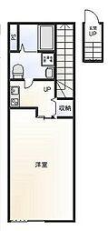西武池袋線 ひばりヶ丘駅 徒歩10分の賃貸アパート 2階1Kの間取り