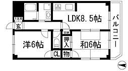 兵庫県宝塚市南口2丁目の賃貸マンションの間取り