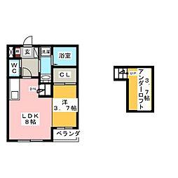 ハーモニーテラス旗屋[1階]の間取り