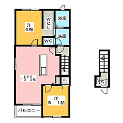 三重県鈴鹿市南玉垣町の賃貸アパートの間取り
