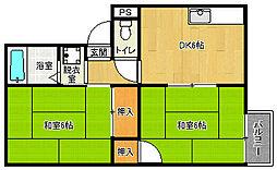 京都府京都市西京区山田平尾町の賃貸アパートの間取り