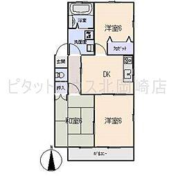 愛知県岡崎市下和田町字尾之越の賃貸アパートの間取り