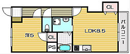 第一萩谷マンション[305A号室]の間取り
