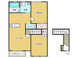 ハイツフローラ南Ⅱ[2階]の間取り