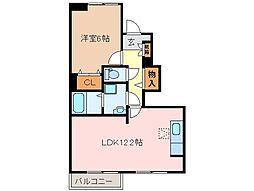 三重県多気郡明和町大字佐田の賃貸アパートの間取り