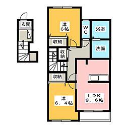 愛知県一宮市丹陽町外崎字下川田の賃貸アパートの間取り