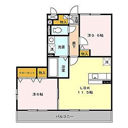メゾン・アムール 弐番館 B棟[2階]の間取り