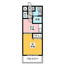 ピュアドーム高宮イースト[5階]の間取り
