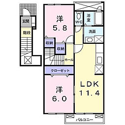 東京都八王子市諏訪町の賃貸アパートの間取り