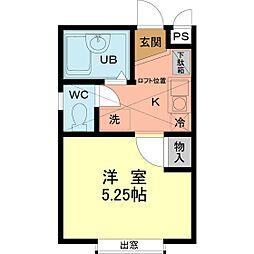 シャンベール南大沢[1階]の間取り