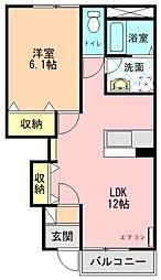 近鉄田原本線 佐味田川駅 徒歩10分の賃貸アパート 1階1LDKの間取り