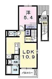 JR山陽本線 西広島駅 徒歩13分の賃貸アパート 2階1LDKの間取り