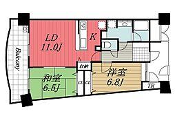JR内房線 長浦駅 徒歩3分の賃貸マンション 10階2LDKの間取り