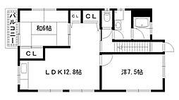 兵庫県神戸市兵庫区西上橘通2丁目の賃貸アパートの間取り
