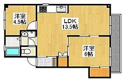 ニューコーポ藤田[2階]の間取り