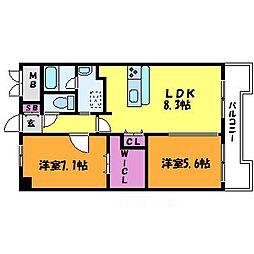 アミュゼ新大阪[9階]の間取り