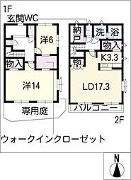[タウンハウス] 愛知県みよし市黒笹いずみ3丁目 の賃貸【/】の間取り