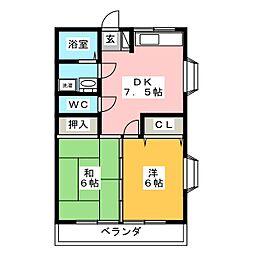 ひばりヶ丘マンションD[3階]の間取り