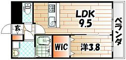 福岡県遠賀郡水巻町頃末北1丁目の賃貸マンションの間取り