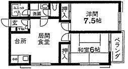 千葉県市川市香取1丁目の賃貸アパートの間取り