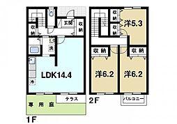 [テラスハウス] 奈良県生駒市壱分町 の賃貸【奈良県 / 生駒市】の間取り