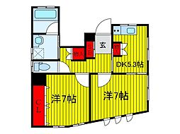 ラッキーハウス 1階2DKの間取り