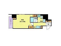 東京メトロ南北線 六本木一丁目駅 徒歩3分の賃貸マンション 11階1Kの間取り
