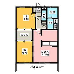 スパローハイツA棟[1階]の間取り