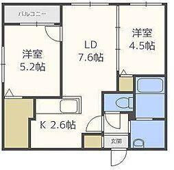 北海道札幌市東区北二十四条東13丁目の賃貸マンションの間取り
