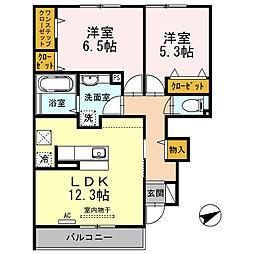 大阪府東大阪市菱屋東1丁目の賃貸アパートの間取り