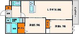 ヘーベルウォーク江坂 1階2LDKの間取り