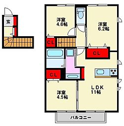 D-room花畑 参番館[202号室]の間取り