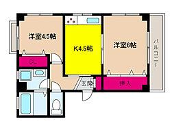 JR東海道・山陽本線 摩耶駅 徒歩8分の賃貸マンション 3階2Kの間取り