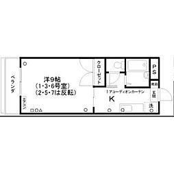 徳島県徳島市助任本町5丁目の賃貸マンションの間取り