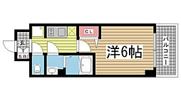 エステムコート神戸グランスタイル 7階1Kの間取り