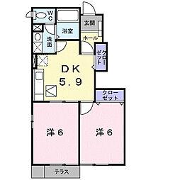 メゾンドフルールII[1階]の間取り