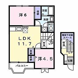 徳島県板野郡藍住町徳命字元村の賃貸アパートの間取り